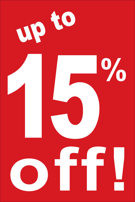 Upto 15% discount from our webshop